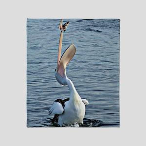 Pelican Catching Fish Throw Blanket