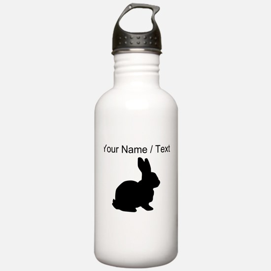 Custom Black Bunny Silhouette Water Bottle