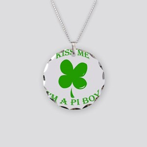 St. Pattys Kiss Me Necklace Circle Charm