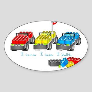 veni vidi lego dk 3 sm Sticker (Oval)