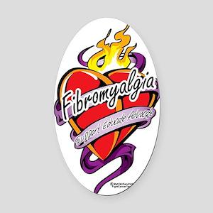Fibromyalgia-Tattoo-Heart Oval Car Magnet