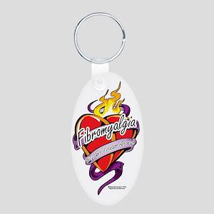 Fibromyalgia-Tattoo-Heart Aluminum Oval Keychain