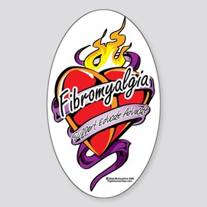 Fibromyalgia-Tattoo-Heart Sticker (Oval)