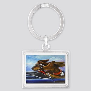 2 Dogs on a Roll Landscape Keychain