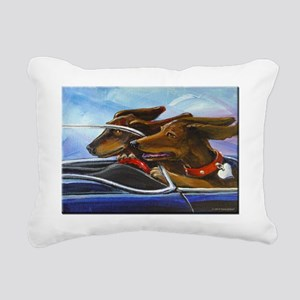 2 Dogs on a Roll Rectangular Canvas Pillow