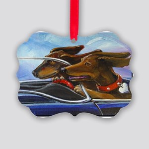 2 Dogs on a Roll Picture Ornament