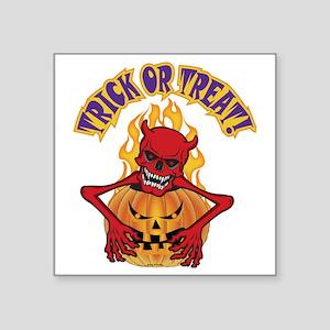 "2-Devil Skull Square Sticker 3"" x 3"""