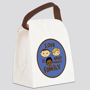 love is what makes a family blue  Canvas Lunch Bag