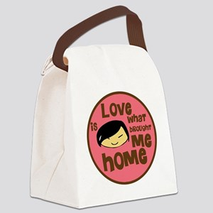 Asian Girl love is what brought m Canvas Lunch Bag