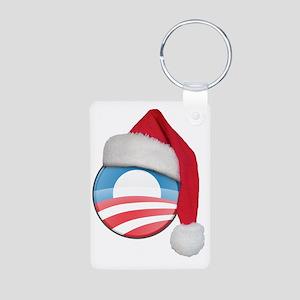 santa_hat_obama_logo_light Aluminum Photo Keychain