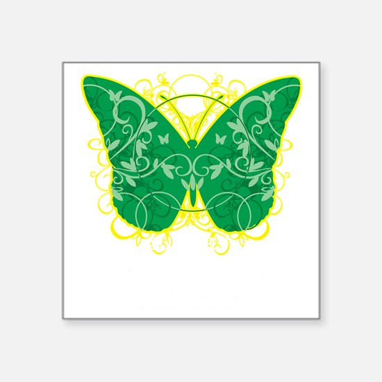 "Gastroparesis-Butterfly-blk Square Sticker 3"" x 3"""