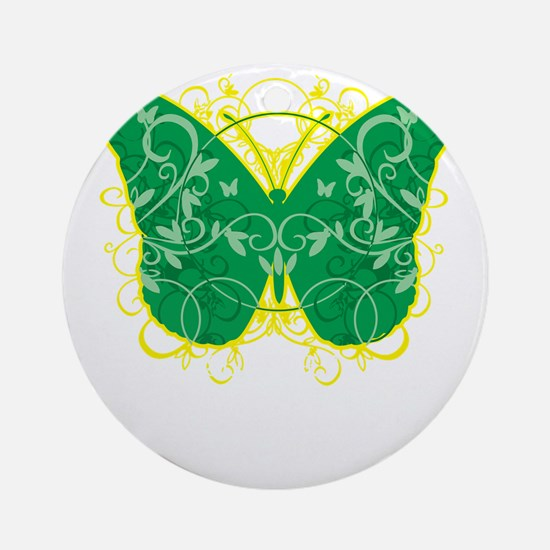 Gastroparesis-Butterfly-blk Round Ornament