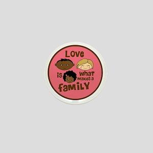 love makes biracial parents 2  girl co Mini Button
