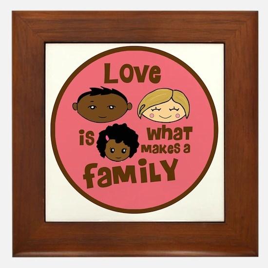 love makes biracial parents 2  girl co Framed Tile