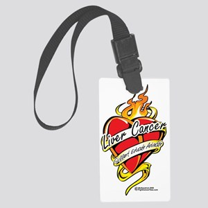 Liver-Cancer-Tattoo-Heart Large Luggage Tag