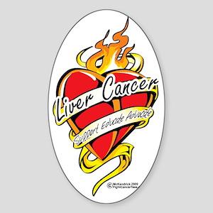 Liver-Cancer-Tattoo-Heart Sticker (Oval)