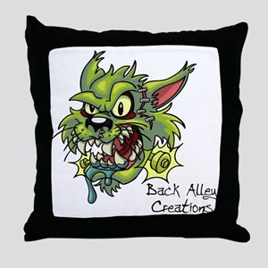 franken cat 10-10 Throw Pillow