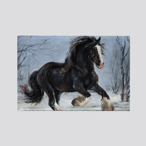 Winter Canter Rectangle Magnet