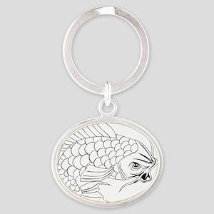 Koi carp fish Oval Keychain