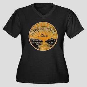 Vintage Gold Women's Plus Size Dark V-Neck T-Shirt