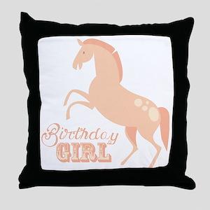 Birthday Girl Pony Throw Pillow
