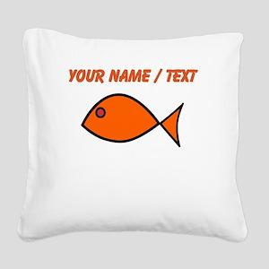 Custom Orange Fish Square Canvas Pillow