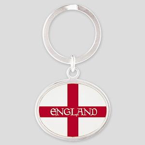 2-PC English Flag - England Goudy Me Oval Keychain