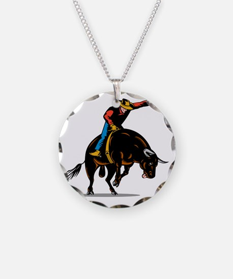Rodeo cowboy bull riding Necklace