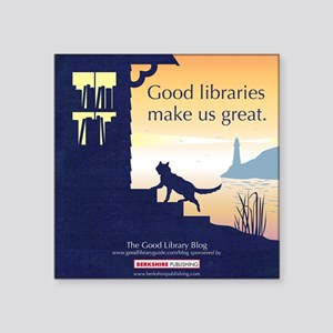 "Good Library Tote front Square Sticker 3"" x 3"""