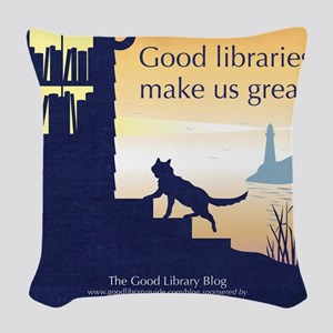 Good Library Tote front Woven Throw Pillow