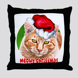 MeowyChristmasCircleWords Throw Pillow