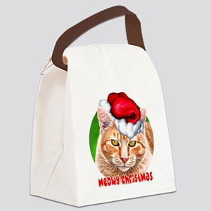MeowyChristmasCircleWords Canvas Lunch Bag