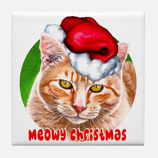 MeowyChristmasCircleWords Tile Coaster