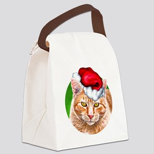 MeowyChristmasCircle Canvas Lunch Bag