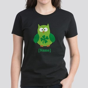 Personalized St Patrick's Day Owl Women's Dark T-S