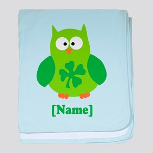 Personalized St Patrick's Day Owl baby blanket