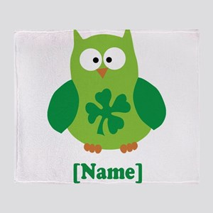 Personalized St Patrick's Day Owl Throw Blanket