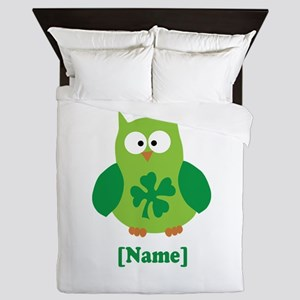 Personalized St Patrick's Day Owl Queen Duvet