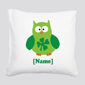 Personalized St Patrick's Day Owl Square Canvas Pi
