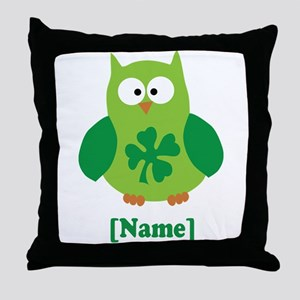 Personalized St Patrick's Day Owl Throw Pillow