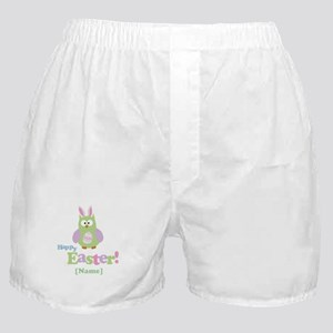 Personalized Happy Easter Owl Boxer Shorts