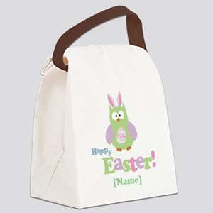 Personalized Happy Easter Owl Canvas Lunch Bag