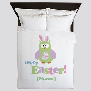 Personalized Happy Easter Owl Queen Duvet