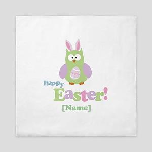 Personalized Happy Easter Owl Queen Duvet