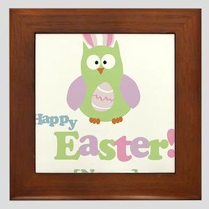 Personalized Happy Easter Owl Framed Tile