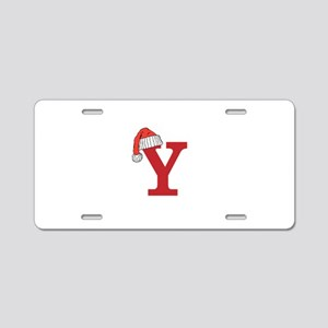 Letter Y Christmas Monogram Aluminum License Plate