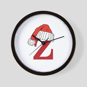 Letter Z Christmas Monogram Wall Clock