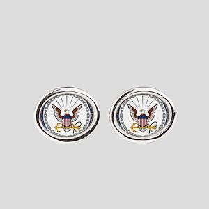 Navy Oval Cufflinks