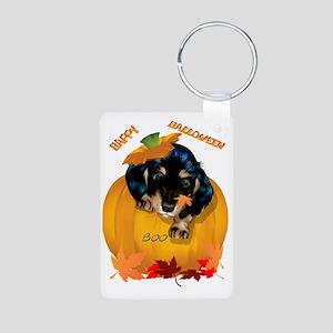 Dashund Puppy Halloween -  Aluminum Photo Keychain