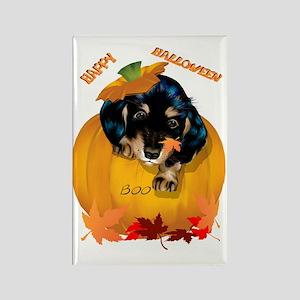Dashund Puppy Halloween - Boo Tra Rectangle Magnet